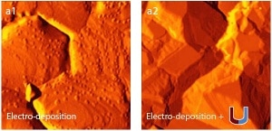 AFM images of copper films electro-deposited on Au (111) without magnetic field (a1) and in magnetic field (B = 0.1 T) (a2). Scans were obtained by using CSG01 probes. The in situ AFM investigations were performed with the NTEGRA Aura setup in the MFM configuration. Scans size 2 x 2 µm.