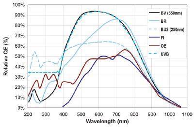 QE curves relevant to Raman Spectroscopy