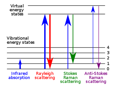 Schematic of the energy levels involved in Raman spectroscopy.