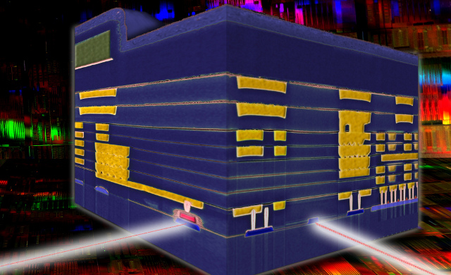Cross-sectional view of a hybrid electronic-photonic processor chip.