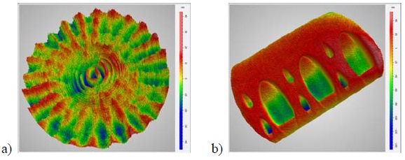 """3D height maps demonstrating lateral resolution capabilities on a 1000x1000 detector array using an optimized spatial carrier algorithm: (a) an optical flat showing mid-spatial frequency errors generated by small-tool polishing; (b) a """"spot"""" block used to characterize the polishing footprint for deterministic polishing correction."""