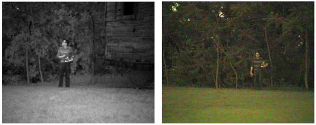 Monochrome and color actual still images of Nocturn at 15mlux