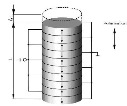 Basic principle of a piezo stack actuator.