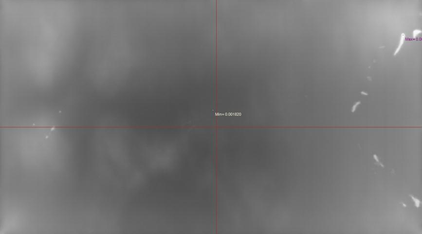 Captured image of display with mura (top), shown with TrueMURA analysis applied (Black Mura analysis example) (bottom).